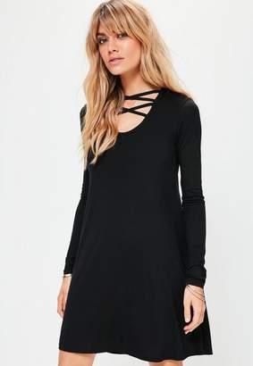 Missguided Black Long Sleeve Cross Front Swing Dress