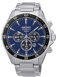 Seiko Men's Stainless Steel Blue Dial Solar Chronograph Watch
