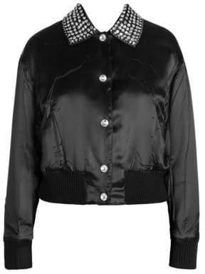 Miu Miu Embellished Satin Bomber Jacket