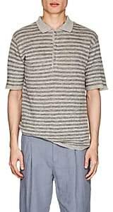 Barena Venezia Men's Striped Linen Polo Shirt - Dark Gray