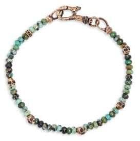 Mercer Turquoise & Brass Skull Beaded Bracelet