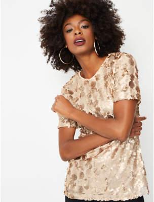 Bell Gold Sequin Embellished Short Sleeve Longline Top