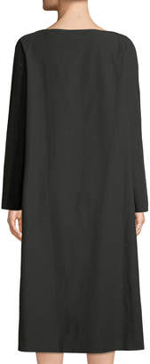 Tomas Maier Long-Sleeve Cotton Shift Dress