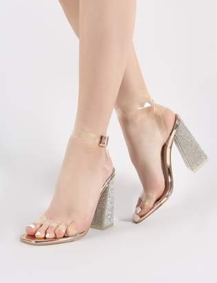 dfd6959510e Public Desire Ayda Perspex and Diamante Heels in Rose
