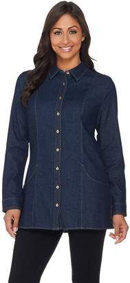 Denim & Co. Button Front Denim Tunic with Pockets