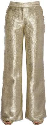 Gianluca Capannolo Fringed Flared Lurex Tweed Pants