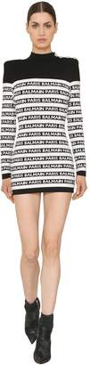 Balmain Logo Intarsia Knit Mini Dress