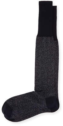 Bresciani Over-the-Calf Glitter Formal Socks, Black