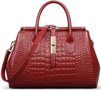 Jack&Chris® Women Genuine Leather Crocodile Leather Shoulder Bag Top-handle Tote, WBDZ024