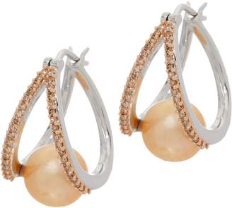 Honora Cultured Pearl & Diamond Split Hoop Earrings, Sterling