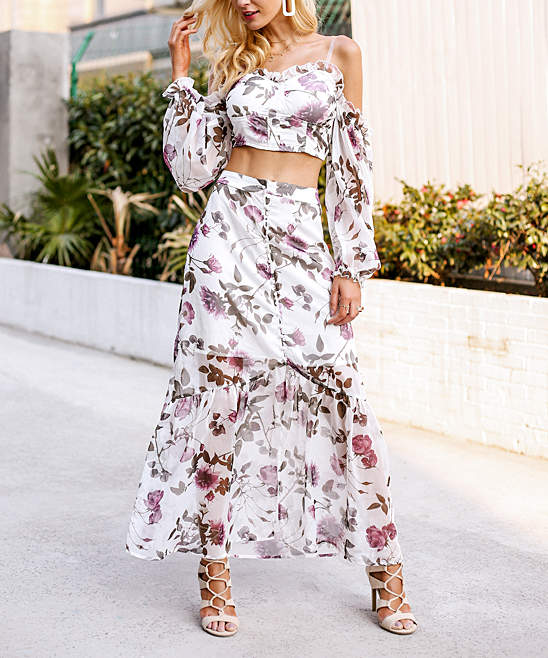 White & Purple Floral Crop Top & Maxi Skirt Set - Women