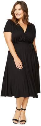 White Label Short Sleeve Cookie Dress - Black, Plus Size