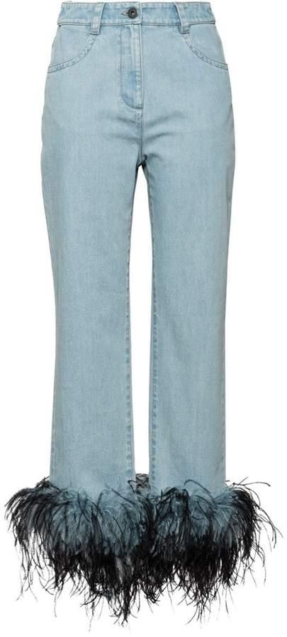 feather hem jeans