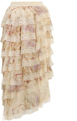 Zimmermann Sabotage Tiered Lace Skirt