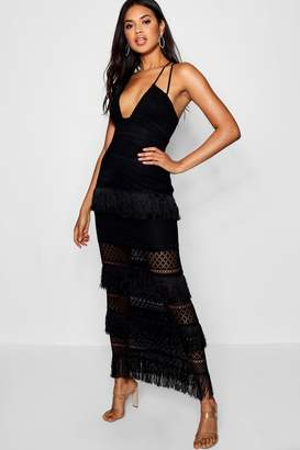 boohoo Zoe Lace & Tassel Maxi Dress