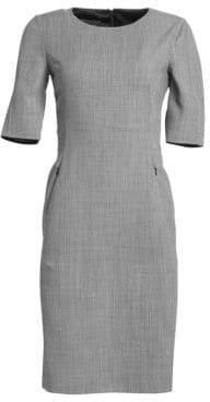 Akris Double Face Fil À Fil Check Wool Sheath Dress