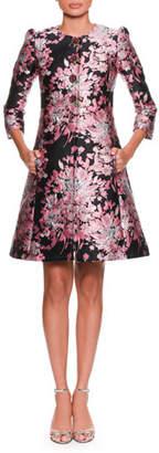 Dolce & Gabbana Long-Sleeve Button-Down Rose-Jacquard Coat w/ Metallic