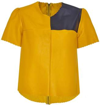 Manley - Boxter Leather Tee Yellow & Navy
