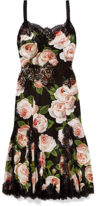 Dolce & Gabbana Lace-trimmed Floral-print Silk-blend Satin Dress - Black