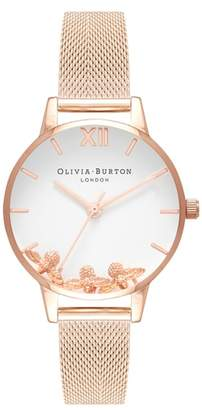 Olivia Burton Busy Bees Mesh Strap Watch, 30mm