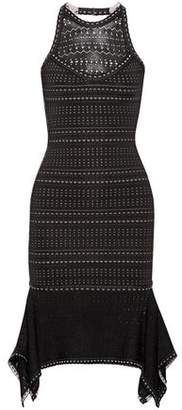 Herve Leger Halle Cutout Bandage And Pointelle-Knit Dress