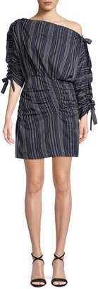 Tanya Taylor Sabra Striped One-Shoulder Ruched Mini Dress