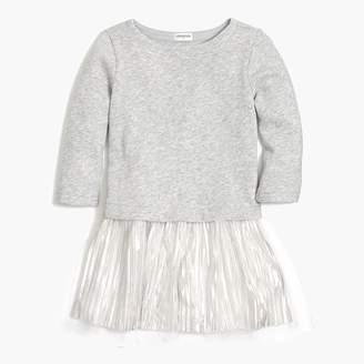 J.Crew Girls' sweatshirt dress with pleated shimmer bottom