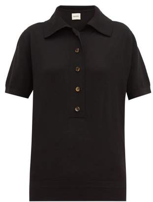KHAITE Enzo Wool Blend Knitted Polo Shirt - Womens - Black
