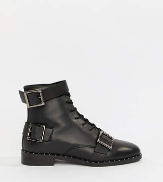Asos DESIGN Wide Fit Arabelle leather lace up boots