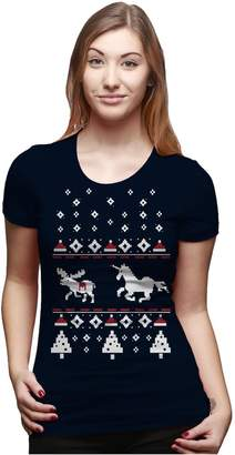 Crazy Dog T-shirts Crazy Dog Tshirts Womens Unicorn Stab Funny Ugly Christmas Holiday T shirt for Ladies -M