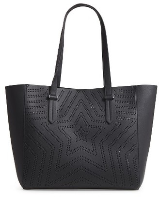 Kendall + Kylie Shelly Star Perforated Faux Leather Tote & Zip Pouch - Black $150 thestylecure.com