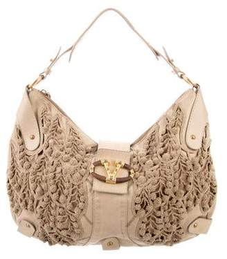 e0cda6b6322a Valentino Satin   Leather Crochet-Trim Hobo