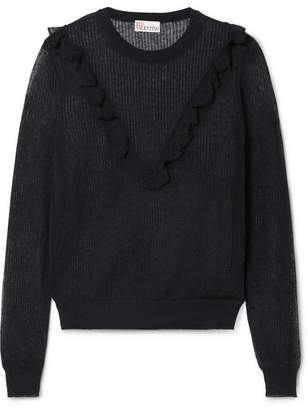 RED Valentino Ruffle-trimmed Cotton-blend Sweater - Black