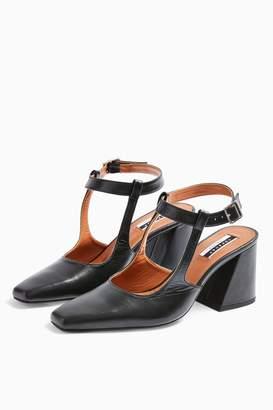 Topshop GARCIA Leather Black Block Heels