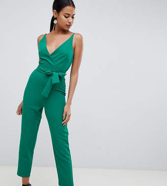 Asos Design DESIGN wrap front jumpsuit with peg leg and self belt