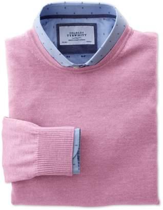 Charles Tyrwhitt Light Pink Merino Wool Crew Neck Sweater Size XL