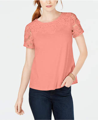 Charter Club Petite Cotton Embroidered T-Shirt