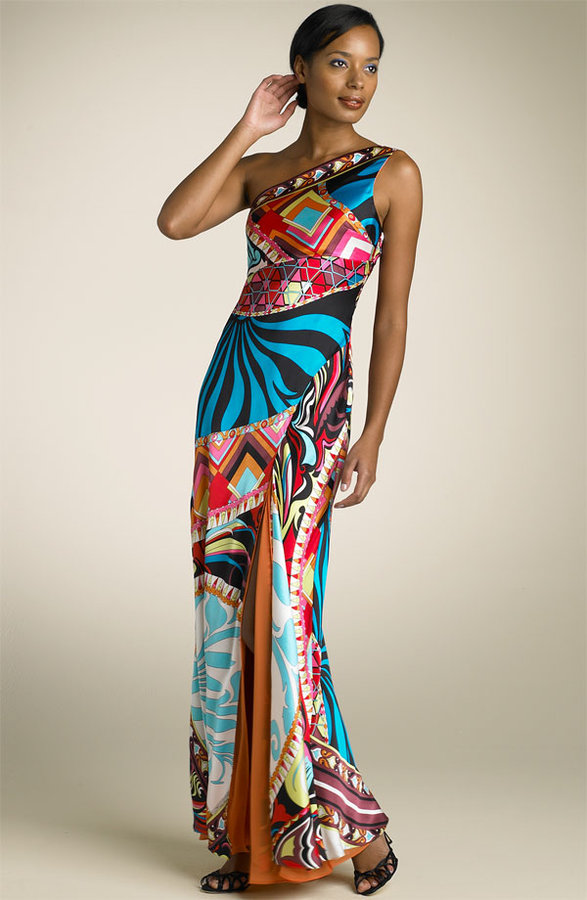 Mary L Couture One Shoulder Geometric Print Gown