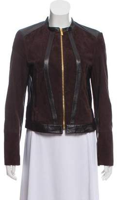 Michael Kors Leather-Trimmed Suede Jacket