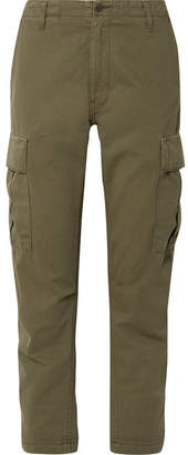 RE/DONE Cropped Cotton-twill Pants - Army green
