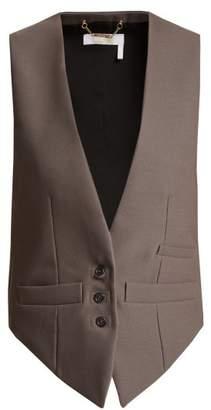 Chloé Satin Panel Wool Blend Waistcoat - Womens - Dark Grey
