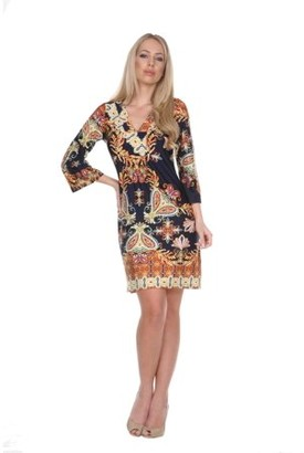 White Mark Women's Venetian Printed 3/4 Sleeve Dress