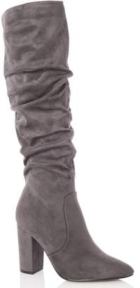 Dorothy Perkins Womens *Quiz Grey Suede Ruched Knee High Boots