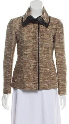 Lafayette 148 Leather-Trimmed Wide-Collar Jacket