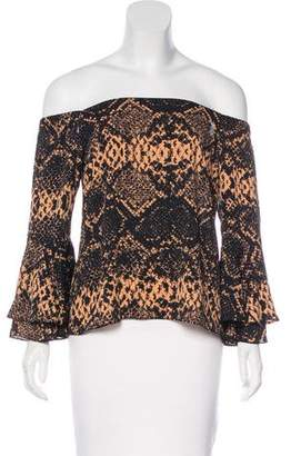 Amanda Uprichard Printed Off-The-Shoulder Top w/ Tags