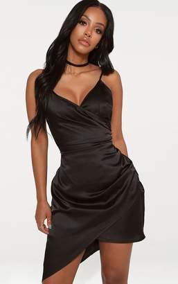 PrettyLittleThing Shape Cream Chain Print Satin Wrap Dress