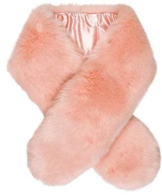 THP Faux-Fur Satin-Trimmed Scarf