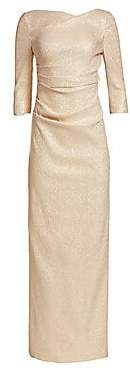 Teri Jon by Rickie Freeman Women's Three-Quarter Sleeve Stretch Metallic Ruched Gown