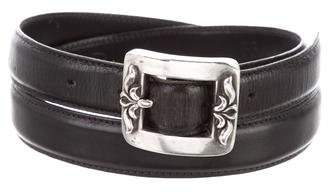 Chrome Hearts Sterling Silver Skinny-Leather Belt