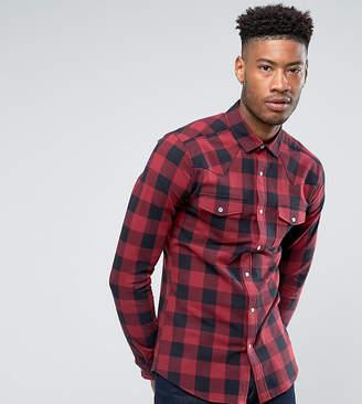 Asos Design Tall Skinny Western Buffalo Check Shirt In Red